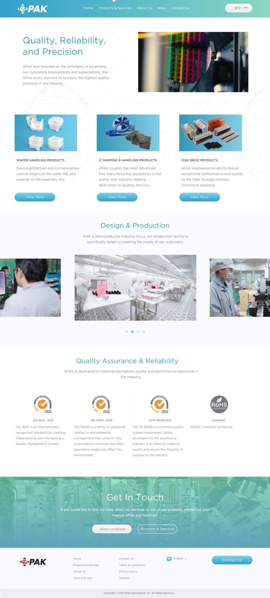 ePAK WordPress Products Page