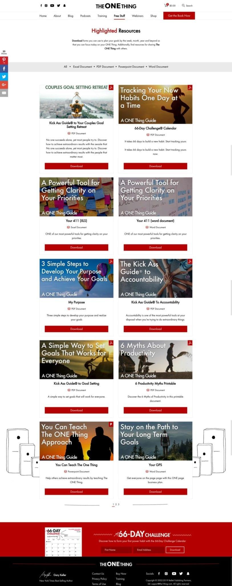 The ONE Thing WordPress Free Stuff Page