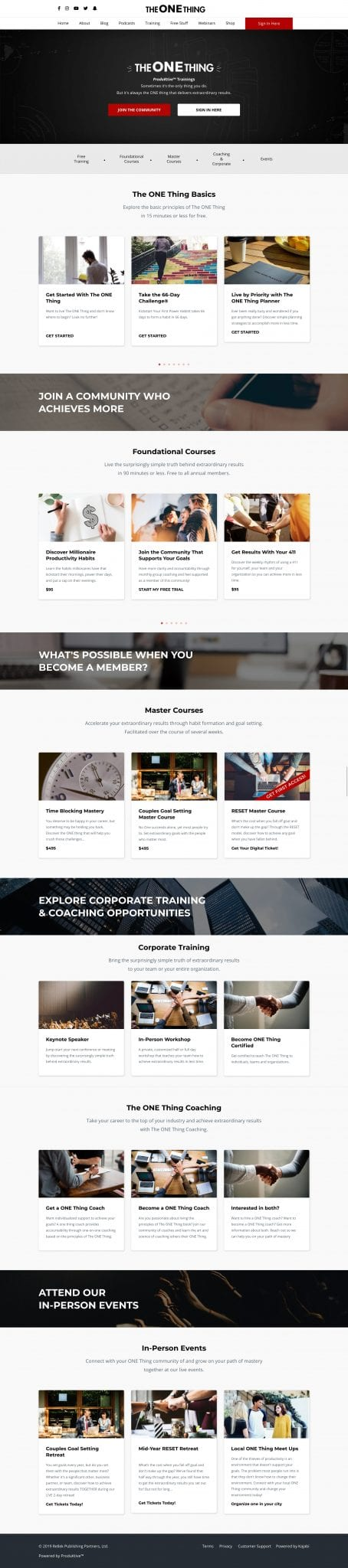 The ONE Thing WordPress Training Page