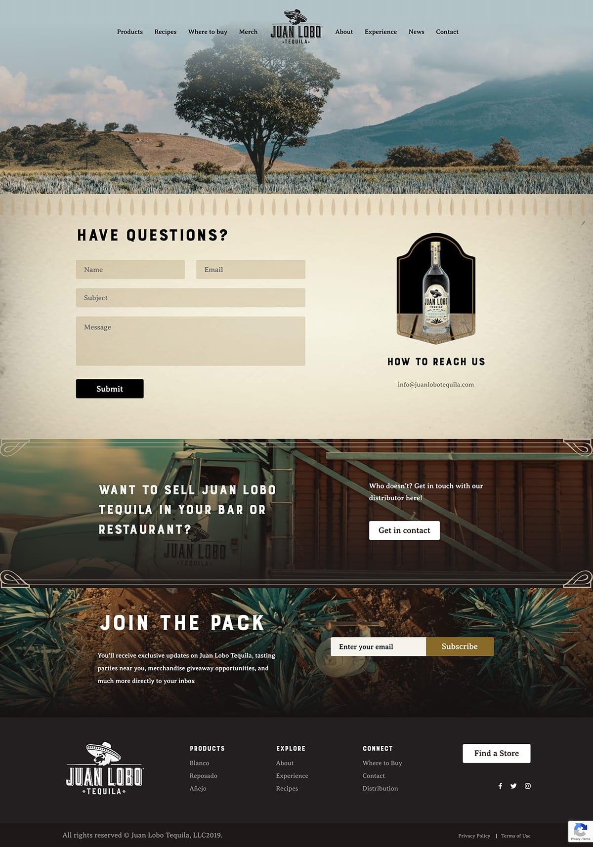 Juan Lobo Tequila Website Contact Page