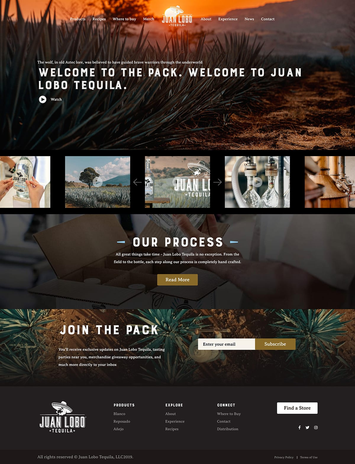 Juan Lobo Tequila Website Experiences Page