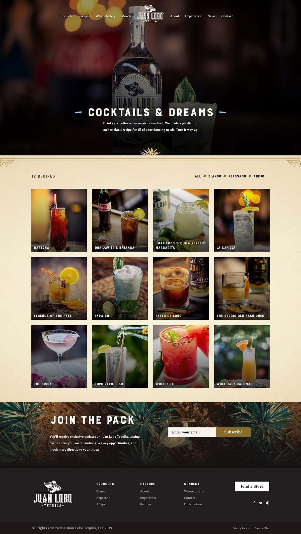 Juan Lobo Tequila Custom WordPress Recipes Page