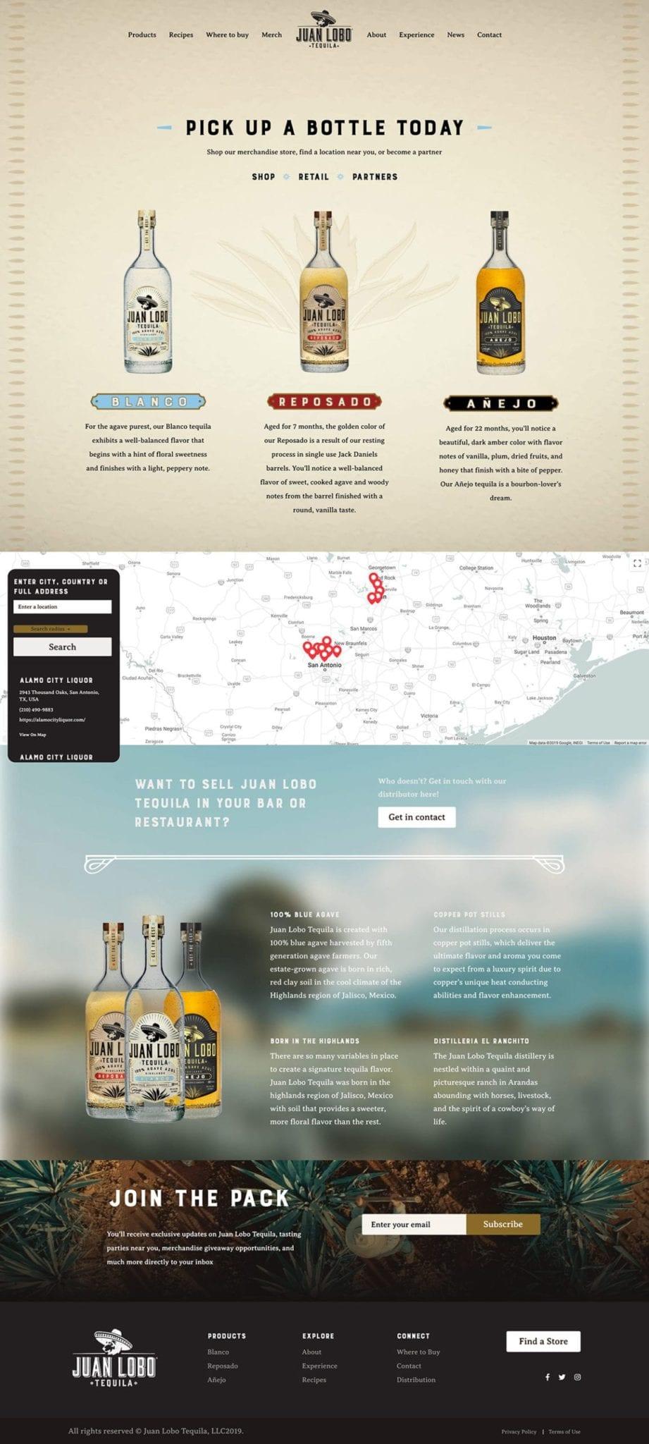 Juan Lobo Tequila Custom WordPress Where to Buy Page