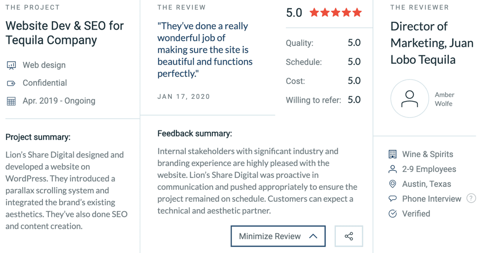 Lion's Share Digital is Excited to Receive Another Perfect, 5.0 Star Review on Clutch!