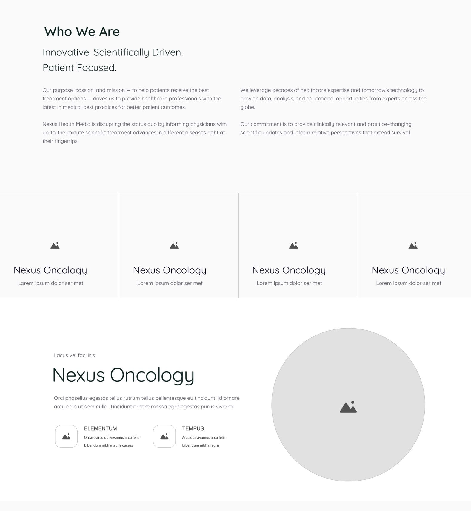 Nexus Health Media Wireframe Design