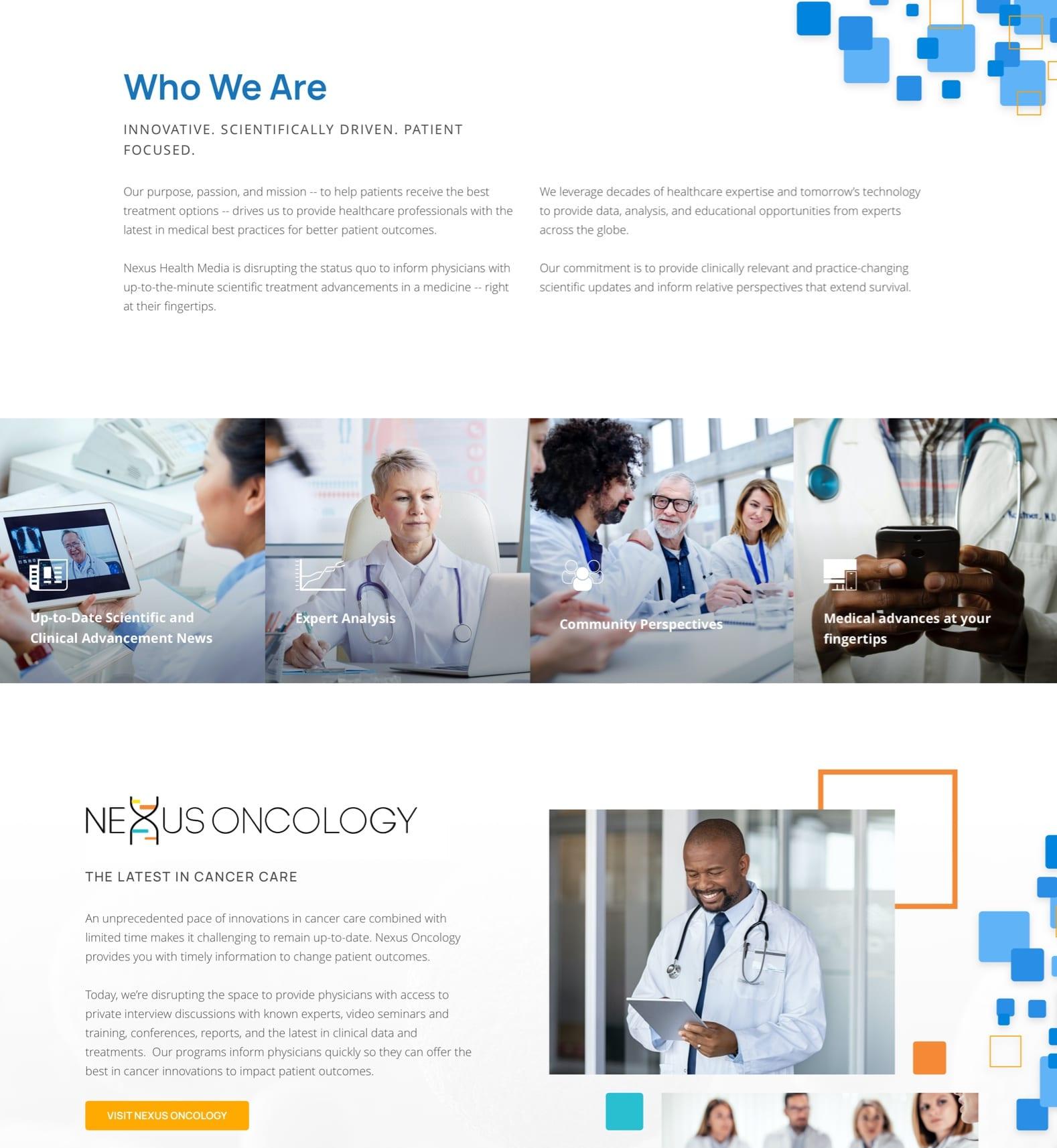 Nexus Health Media Home Page Website Design